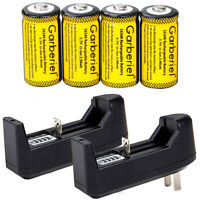 4PCS CR123A 2800mAh Rechargeable Batteries 16340 Battery 3.7V Li-ion + 2xCharger