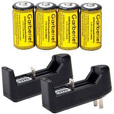 4PCS CR123A 1800mAh Rechargeable Batteries 16340 Battery 3.7V Li-ion + 2xCharger