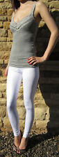 EXTRA LONG Leggings Pants Tall Shiny Sexy WET LOOK WHITE   10 12 14 16 18 20 24
