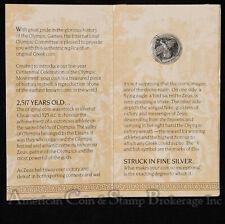 Greece C. 525 BC Olympic Victory Coin .925 Silver Centennial Coin Programme