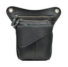 Genda 2Archer Small Leather Tactical Waist Purse Fanny Pack Leg Bag Black