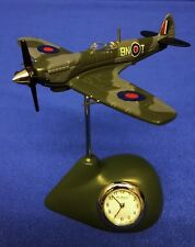 WILLIAM WIDDOP ROYAL AIR FORCE RAF SPITFIRE FIGHTER PLANE MINIATURE CLOCK 9420