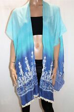 JJ SISTERS Brand Blue Blue Embroidered Beach Cover Up Top One Size BNWT #SB100