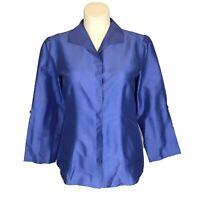 Chicos 2 Blouse Shirt Blue Silk V Neck Collar Hidden Button 3/4 Sl Tunic Large