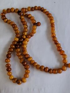 Antique  natural butterscotch amber Marble bead necklace small beads