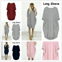 Knee Length dresses for women summer  plus size Long Sleeve Ladies holiday