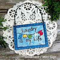DecoWords Mini Sign Laundry Room Wood Ornament Fits over Doorknob Everyday Decor