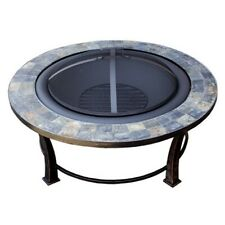 "Az Patio Heaters 40"" Round Slate Wood Burning Firepit in Black - Ft-51216"