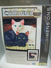 "DIMENSIONS COUNTED CROSS STITCH KIT ""EBONY AND IVORY"" CATS, PIANO, 9X12 SEALED"