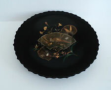 19th C. JAPANESE CHINOISIERE DECORATED BLACK LACQUER LOW PEDESTAL PLATE / TRAY