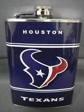 HOUSTON TEXANS CLASSIC LOGO BLUE STAINLESS STEEL 8oz FLASK NFL
