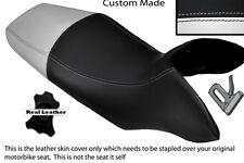 BLACK & WHITE CUSTOM FITS HONDA TRANSALP XL 700 V 08-12 DUAL LEATHER SEAT COVER