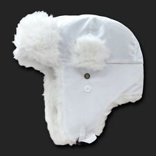 White Aviator Bomber Faux Fur Winter Ski Trooper Trapper Ear Flap Hat Cap L/XL