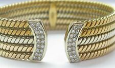 18Kt 3-Color Diamond Cuff Bracelet .85CT 19.6mm WIDE