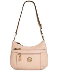 Giani Bernini Pebble PVC Multi Pocket Hobo Handbag Rose/Vachetta MSRP $79.40