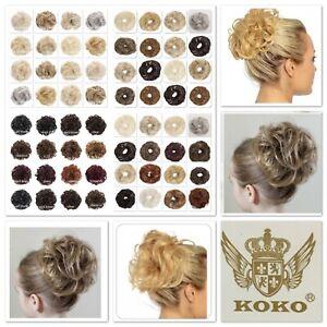 KOKO Scrunchie Wrap Large Curly or Wavy Messy Bun Updo Hair piece Natural Shades