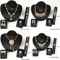 Fashion New Crystal Gold Bridal Necklace Earring Ring Bracelet Jewelry Set Women