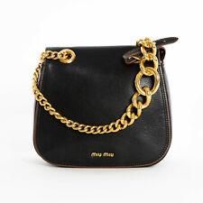 MIU MIU Madras Dahlia Leather Crossbody Shoulder Bag Black with Gold Chain