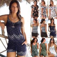 Womens Holiday Mini Boho Playsuit Romper Summer Beach Shorts Jumpsuit Sundress