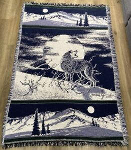 Majestic Wolf Moon Knit Throw Blanket Blue Fringe 65x42.5 Inches 1993