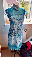 oriental chinese dress, prom, cruise, blue lace satin and sequins NEW size 8 -10