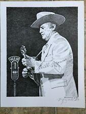 Raymond Hunt Vintage Print, Bill Monroe, Mandolin, Nashville Signed, 1989  11x14