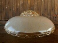 "Vintage 10"" Frosted Glass Ceiling Light Lamp Shade Only Restoration 1930"