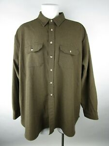 Cabela's Mens Brown Houndstooth Flap Pockets Button Up Shirt Size 4XL Tall USA