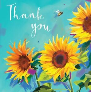 Charity Greetings Card - Thank You - Sunflowers
