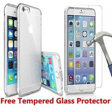iPhone 7 Ultra Thin Crystal Clear Transparent Gel/Second Skin Soft TPU Case+Glas