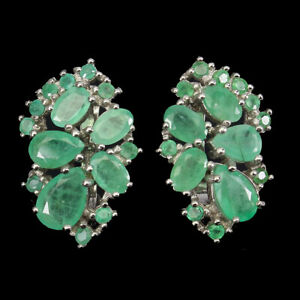 Unheated Oval Emerald 8x6mm 14K White Gold Plate 925 Sterling Silver Earrings