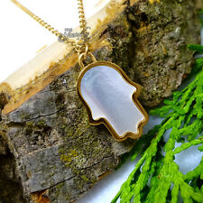 Big Gold Mother of Pearl Hamsa Necklace
