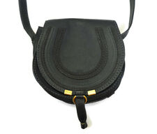 Chloe Black Leather Mini Marcie Saddle Crossbody Handbag