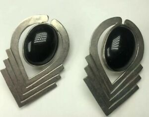 Black Onyx Clip Earrings Vintage 925 Sterling Silver Mexico Stamped