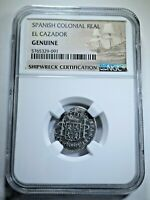 1783 El Cazador Shipwreck 1 Reales NGC Authentic Real Pillar Colony Pirate Coin