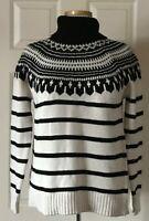 $155 NWT Womens Lauren Ralph Lauren Cotton Blend Knit Turtleneck Sweater Cream