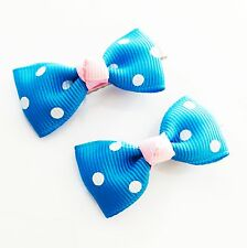 USA SELLER HANDMADE FABRIC Hair Clip PIN Claw Bowknot Kids Child Small Blue