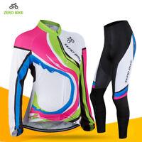 Cycling Jersey Set Women Bike Long Sleeve Jersey Pants Set Cycling Clothing Kits