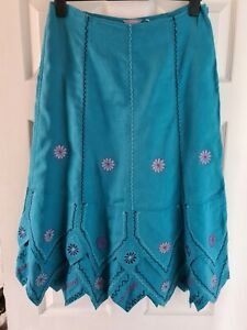 M&S PER UNA Boho/Hippy Embroidered Floral Linen Skirt - Size 12 Long Immaculate