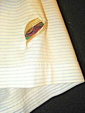 PETER MILLAR Blue Striped Embroidered Panama Jack Hat Logo Polo Golf Shirt L