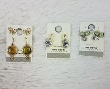 Lot of 4 One Way Collection Womens Silver Earrings Costume Jewlery Pierced Bows