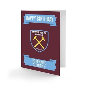 Personalised West Ham United FC Birthday Card Football Fan Supporter Gift WHFC