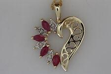 "10K YELLOW GOLD GENUINE MARQUIS RUBY & DIAMOND HEART PENDANT 18"" CHAIN"