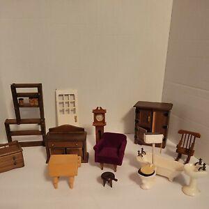 13 Vintage Dollhouse Furniture Misc. Pieces Circa 1970's, Clock, Butcher Block