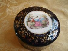 Vintage Handpainted Made In Japan Porcelain Round Trinket Box 1940's