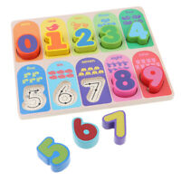Fun Wooden Number Block Puzzle Board Baby Kid Educational Math Learning Toys