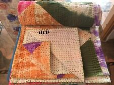 Indian Hand Block Floral Print Kantha Quilt Cotton Bedspread Twin Size Tie Dye