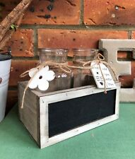 Glass Bottles in Rustic Wooden Blackboard Trug Crate Flower Bud Vase Weddings
