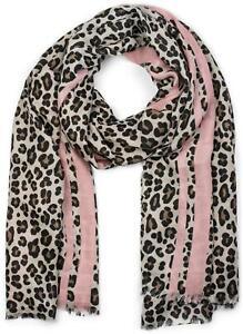 Damen Schal Leo, farbigem Streifen, Fransen, Tuch Halstuch Leopard Animal Print