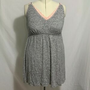 Lane Bryant Sleep Cacique Chemise Nightgown Pajama PJs Lace Top Gray Pink 18 20